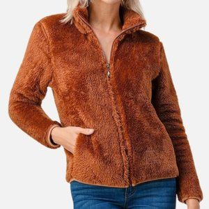 Collared Sherpa Jacket With Pockets in Camel